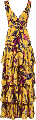 Johanna Ortiz Nature's Eloquence Tiered Printed Georgette Maxi Dress