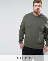 Asos PLUS Lightweight Muscle Hoodie In Khaki