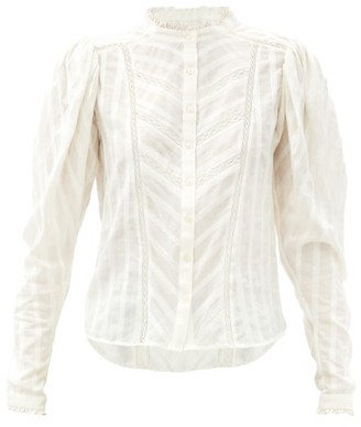 Etoile Isabel Marant Reafi Lace-trimmed Cotton-gauze Blouse - White