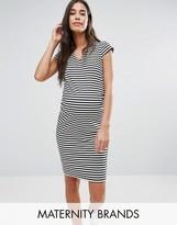 Mama Licious Mama.licious Stripe Cap Sleeve Bodycon Jersey Dress
