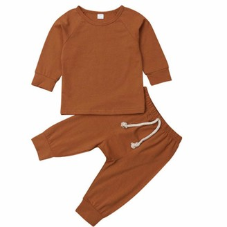 DFVVR Baby Bodysuits Newborn Baby Boys Girls Solid Tops Pants Leggings Homewear Casual Outfits Sets (0-6 Months