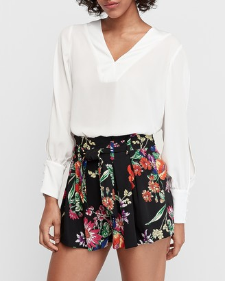 Express High Waisted Floral Sash Tie Pleated Shorts
