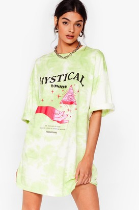 Nasty Gal Womens We Have a Vision Tie Dye Graphic Tee Dress - Green - S, Green