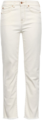 7 For All Mankind Frayed High-rise Straight-leg Jeans
