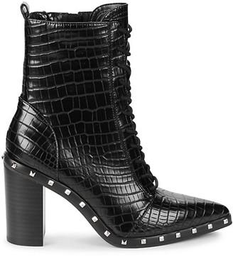 Charles by Charles David Duffy Embossed Croc Design Heeled Ankle Booties