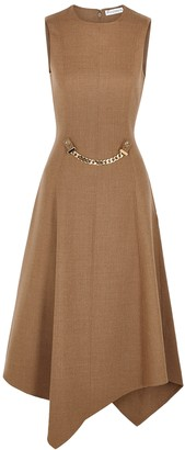 J.W.Anderson Brown panelled stretch-wool midi dress