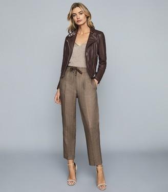 Reiss Claud - Herringbone Linen Trousers in Dark Brown