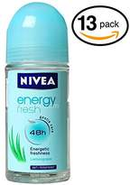 Nivea (Pack of 13 Bottles ENERGY FRESH Women's Roll-On Antiperspirant & Deodorant. 48-Hour Protection Against Underarm Wetness. (Pack of 13 Bottles