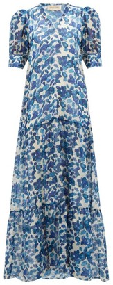Adriana Degreas Lotus-print Chiffon Dress - Blue Print