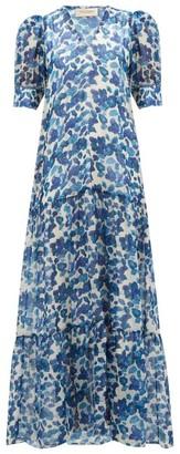 Adriana Degreas Lotus-print Chiffon Dress - Womens - Blue Print
