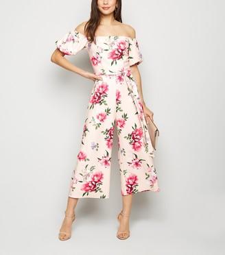 New Look Floral Bardot Puff Sleeve Jumpsuit