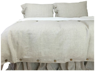 Superior Custom Linens Natural Linen Duvet Cover Set With Wooden Buttons, Full/Queen