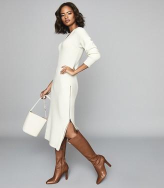 Reiss Gina - Ribbed-knit Midi Dress in White