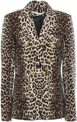 Veronica Beard Double-breasted Leopard-print Stretch-crepe Blazer