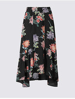 Limited Edition Floral Print A-Line Midi Skirt