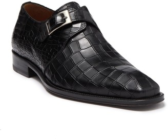 Mezlan Croc Embossed Monk Strap Dress Shoe