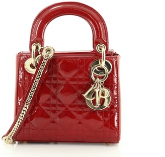 Christian Dior Lady Chain Bag Cannage Quilt Patent Mini