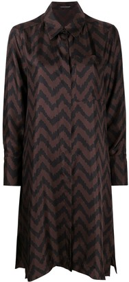 Luisa Cerano Zig Zag Print Shirt Dress