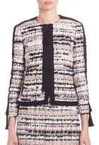 Oscar de la Renta Grosgrain Tweed Jacket