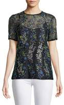 Elie Tahari Val Botanical Vines Sheer Top