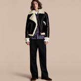 Burberry Panelled Shearling Aviator Jacket