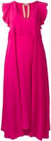 No.21 long ruffle trim dress - women - Silk/Acetate - 40