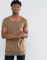 Asos Super Longline T-Shirt With Contrast Hem And Raw Scoop Neck In Brown