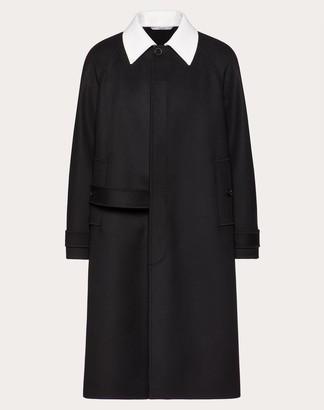 Valentino Uomo On Love Coat Man Black/ivory Virgin Wool 90%, Cashmere 10% 44