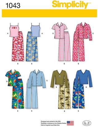 Simplicity Children's Pyjamas Sewing Pattern, 1043