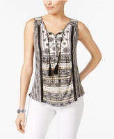 Style&Co. Style & Co Mixed-Print Peasant Top, Created for Macy's