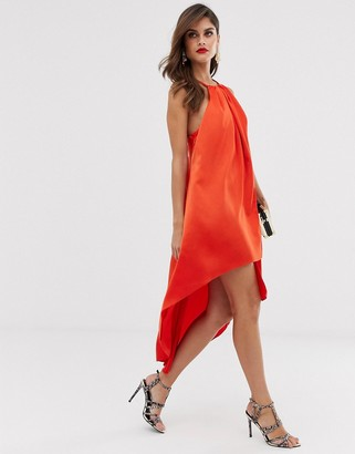 Asos Design DESIGN high neck midi satin dress with rope straps-Orange