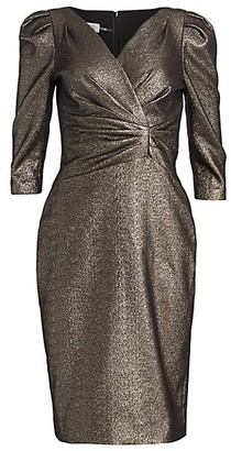 Teri Jon by Rickie Freeman Lame Metallic Puff Sleeve Sheath Dress