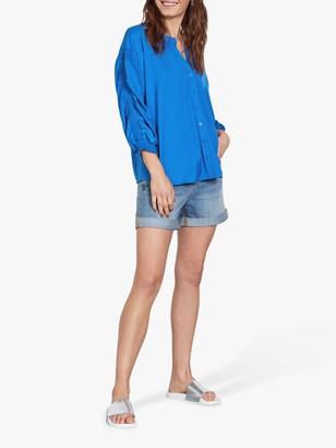 Hush Sandra Shirred Jersey Blouse, Blue