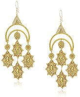 Miguel Ases Large Gold-Tone Crescent Chandelier Drop Earrings