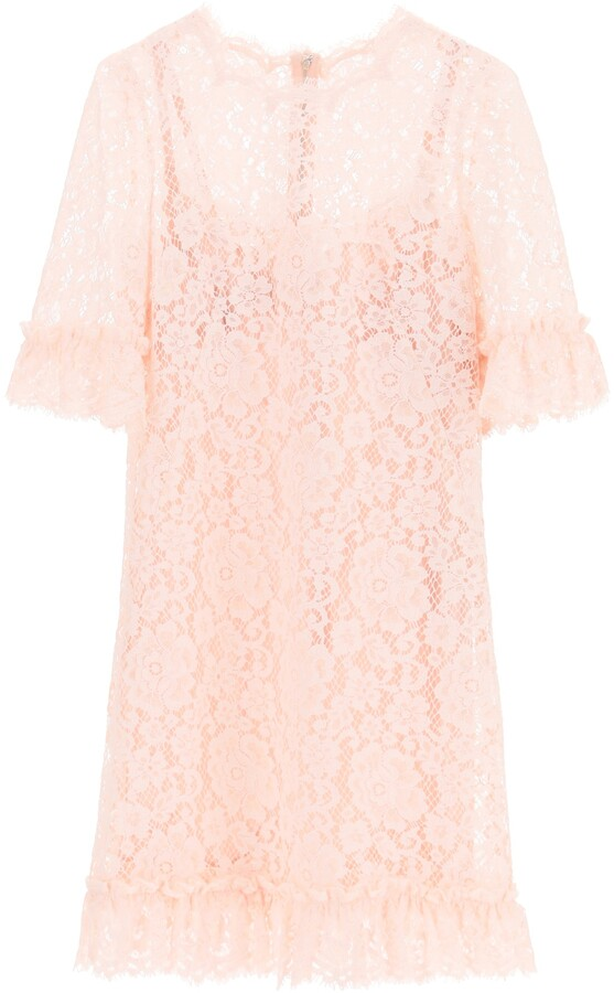 Thumbnail for your product : Dolce & Gabbana LACE MINI DRESS WITH RUFFLES 38 Pink Cotton