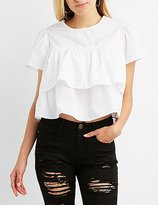 Charlotte Russe Tiered Ruffle Babydoll Blouse