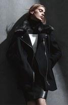 Calvin Klein Faux Fur Collar Wool Blend Moto Coat