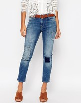 Vero Moda Patchwork Ankle Grazer Jeans