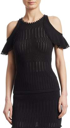 Jonathan Simkhai Pointelle Cold-Shoulder Top
