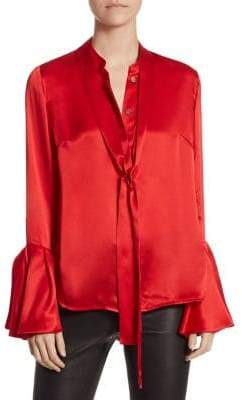Saks Fifth Avenue COLLECTION Silk Tie-Neck Bell-Sleeve Blouse
