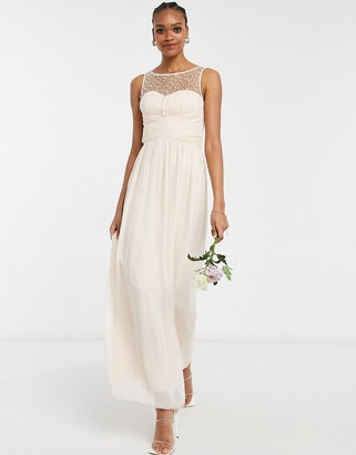 Little Mistress Bridesmaid chiffon maxi dress with pearl embellishment in blush pink