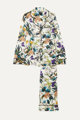 Olivia von Halle Lila Floral-print Silk-satin Pajama Set - White