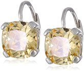 "Kenneth Jay Lane CZ by Classic"" Cushion Cubic Zirconia Single Stone Yellow Leverback Drop Earrings"