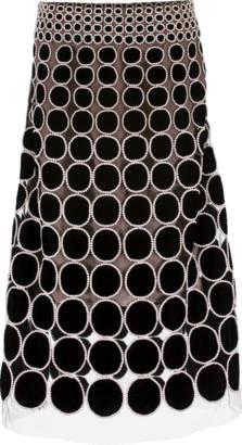 Oscar de la Renta Velvet Pearl Trim Skirt