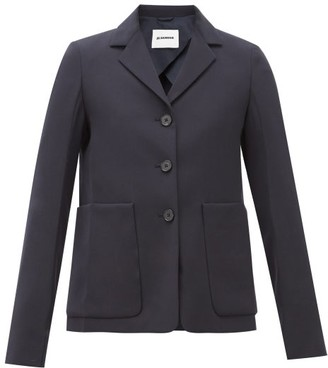 Jil Sander Single-breasted Patch Pocket Wool Jacket - Navy