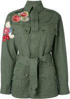 Saint Laurent flower embroidered military parka jacket - women - Cotton - M