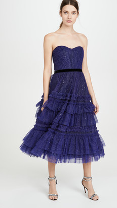 Marchesa Strapless Tulle Gown