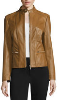 Liz Claiborne Zip-Front Leather Jacket