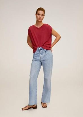 MANGO Linen T-shirt maroon - XS - Women