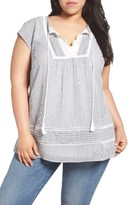 Daniel Rainn Plus Size Women's Eyelet Trim Tie Neck Top